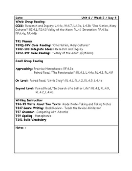 McGraw-Hill Wonders Grade 4 Unit 6 Week 2 Lesson Plans