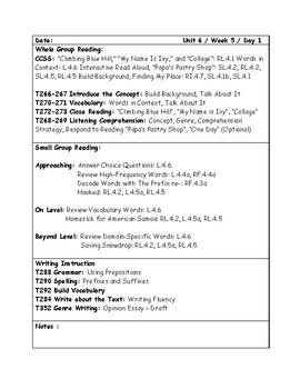 McGraw-Hill Wonders Grade 4 Unit 6 Week 5 Lesson Plans