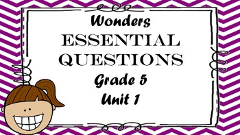 McGraw Hill Wonders Grade 5 Unit 1 Essential Questions Daily 5 Word Work