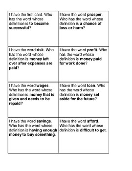 "McGraw Hill Wonders Grade 5 Unit 1 Week 1 Vocabulary ""I Have, Who Has"""