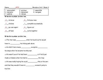 McGraw Hill Wonders Grade 5 Unit 1 Week 2 Vocabulary Pretest