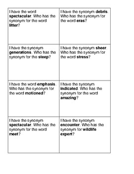 """McGraw Hill Wonders Grade 5 Unit 1 Week 3 Vocabulary """"I Have, Who Has"""""""