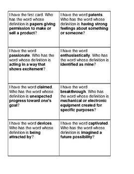"McGraw Hill Wonders Grade 5 Unit 1 Week 4 Vocabulary ""I Have, Who Has"""