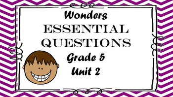 McGraw Hill Wonders Grade 5 Unit 2 Essential Questions Daily 5 Word Work