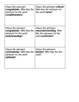 """McGraw Hill Wonders Grade 5 Unit 3 Week 1 Vocabulary """"I Have, Who Has"""""""
