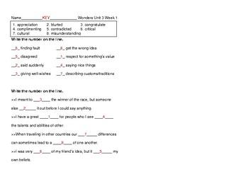 McGraw Hill Wonders Grade 5 Unit 3 Week 1 Vocabulary Pretest