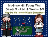 McGraw Hill Wonders Grade 5 Unit 4 Weeks 1-5 focus wall for display