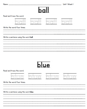 McGraw Hill Wonders High Frequency Word Practice Unit 1 Weeks 1-5
