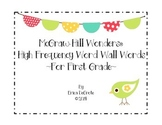 McGraw Hill Wonders High Frequency Word Wall Words Units 1-6