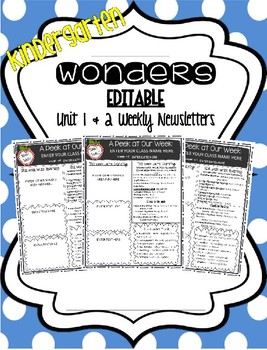 McGraw-Hill Wonders KINDERGARTEN EDITABLE Weekly Newsletter Pack - UNIT 1 & 2