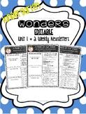 KINDERGARTEN EDITABLE Weekly Newsletters to Correlate with Wonders - UNIT 1 & 2