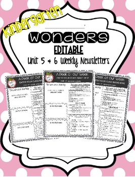 McGraw-Hill Wonders KINDERGARTEN EDITABLE Weekly Newsletter Pack - UNIT 5 & 6