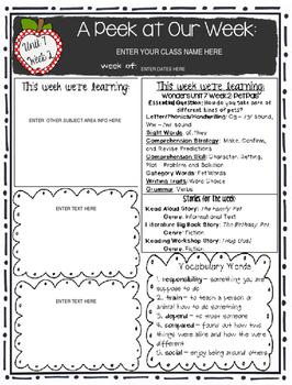 McGraw-Hill Wonders KINDERGARTEN EDITABLE Weekly Newsletter Pack - UNIT 7 & 8