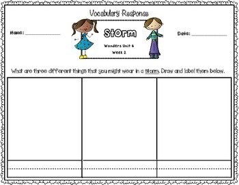 Wonders Kinder Vocabulary Response Unit 6: Weather For All Seasons