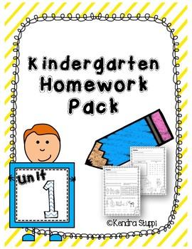 Kindergarten Homework Unit 1