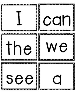 Wild image in sight words flash cards printable