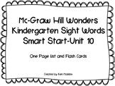 McGraw Hill Wonders Kindergarten Sight Words