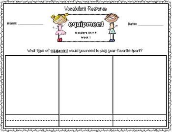 Wonders Kinder Vocabulary Response Unit 4: Around the Neighborhood