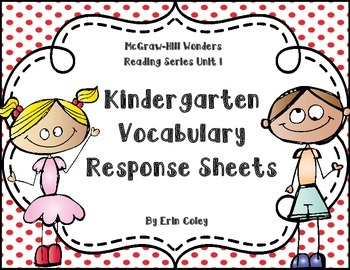 Wonders Kindergarten Vocabulary Response Unit 1: Take a New Step