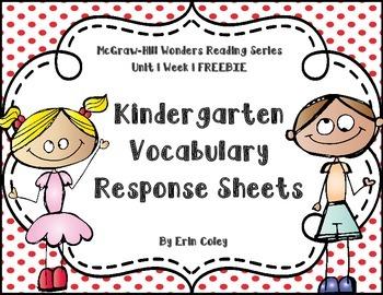 McGraw-Hill Wonders Kindergarten Vocabulary Response Unit 1 Week 1 FREEBIE