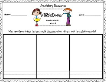 Wonders Kindergarten Vocabulary Response Unit 2: Let's Explore