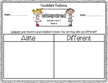 Wonders Kindergarten Vocabulary Response Unit 7: The Animal Kingdom