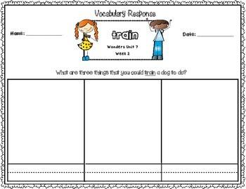 Wonders Kindergarten Vocabulary Response Unit 7: The Animal Kingdom