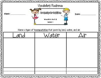 Wonders Kindergarten Vocabulary Response Unit 8: From Here to There