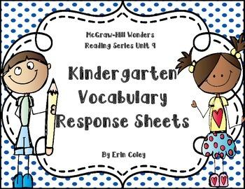 Wonders Kindergarten Vocabulary Response Unit 9: How Thing