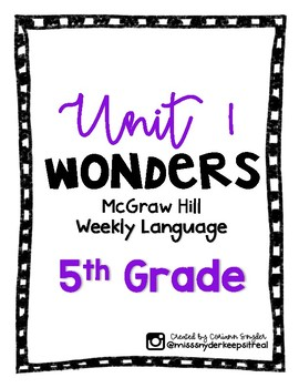 McGraw Hill Wonders Language Practice- Unit 1