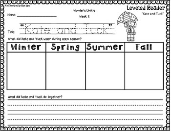 Kindergarten Leveled Reader Response Bundle: Wonders Units 1-10 (McGraw-Hill)