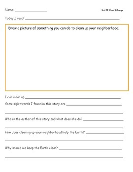 McGraw Hill Wonders Leveled Reader Response Sheets Unit 10 Week 3
