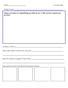 McGraw Hill Wonders Leveled Reader Response Sheets Unit 6 Week 1