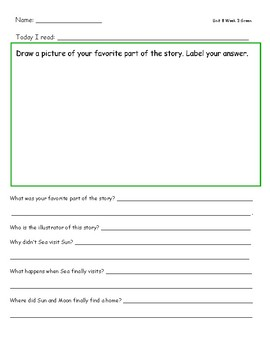 McGraw Hill Wonders Leveled Reader Response Sheets Unit 8 Week 3