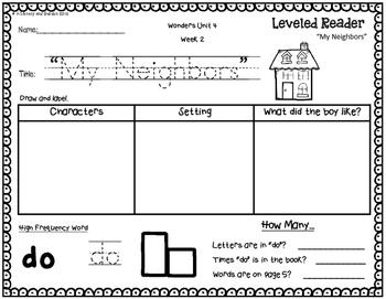 Wonders Leveled Reader Response Unit 4: Around the Neighborhood (K)