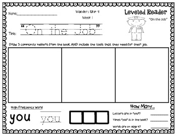 Wonders Leveled Reader Response Unit 4 Week 1: Time For Work FREEBIE