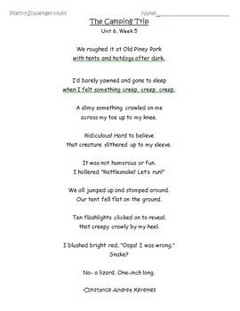 "McGraw Hill ""Wonders"" Poetry Scavenger Hunt (Unit 6, Week 5) Grade 3"