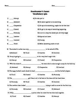 McGraw-Hill Wonders Reading 3rd gr Roadrunner's Dance comprehension & voc test