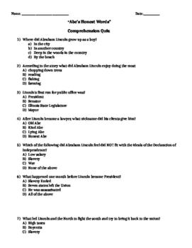 McGraw-Hill Wonders Reading 4th gr Abe's Honest Words comprehension & voc test