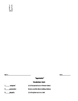 McGraw-Hill Wonders Reading 4th gr Aquinaldo comprehension & voc test