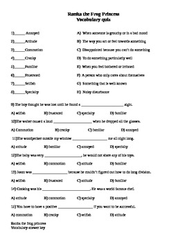 McGraw-Hill Wonders Reading 4th gr Ranita frog princess comprehension & voc test