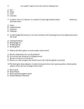McGraw-Hill Wonders Reading 4th gr Spiders comprehension test vocab test.