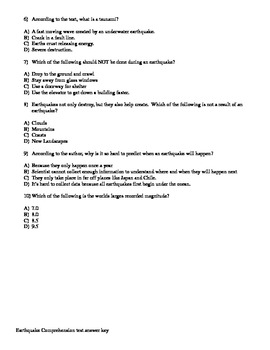 McGraw-Hill Wonders Reading 4th grade Earthquakes comprehension test vocab test.