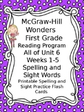 McGraw Hill Wonders Reading First Grade Spelling Sight Word Cards All of Unit 6
