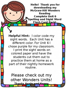 Wonders Reading First Grade Spelling Sight Word Cards Unit 6 Zoom Distance Learn