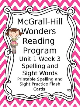 McGraw Hill Wonders Reading First Grade Spelling Sight Word Cards Unit 1 Week 3