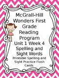 McGraw Hill Wonders Reading First Grade Spelling Sight Word Cards Unit 1 Week 4