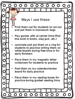 McGraw Hill Wonders Reading First Grade Spelling Sight Word Cards Unit 1 Week 5