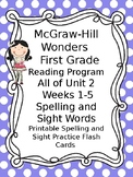 McGraw Hill Wonders Reading First Grade Spelling Sight Word Cards Unit 2 wks 1-5