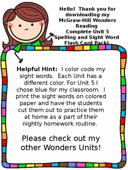 McGraw Hill Wonders Reading First Grade Unit 5 Week 1-5 Spelling Sight Word Card